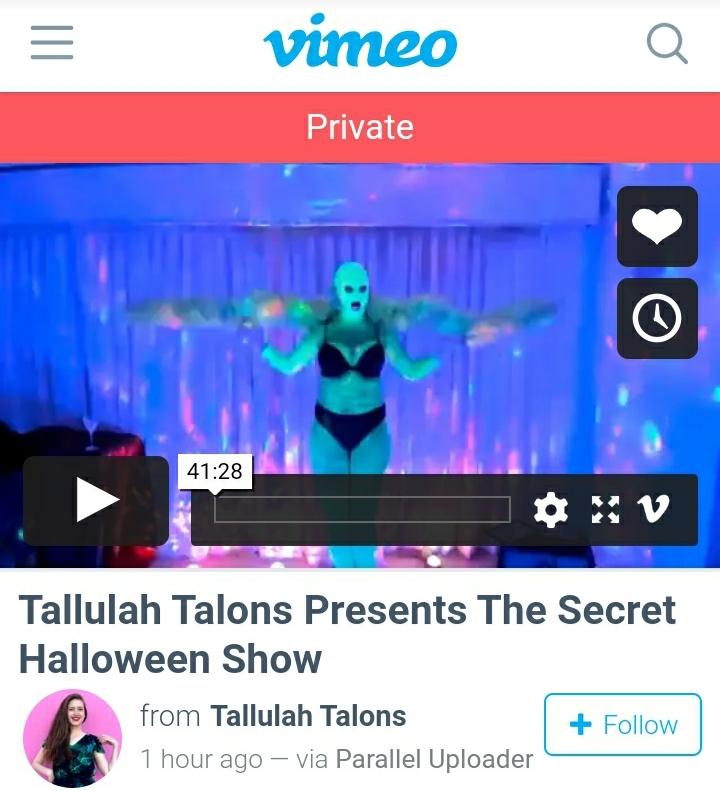 Rent Tallulah's Halloween Show (filmed 10/2020)